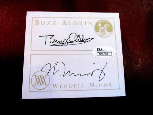Buzz Aldrin W. Minor Apollo 11 Nasa Signed Auto Look To The Stars Book Plate Jsa