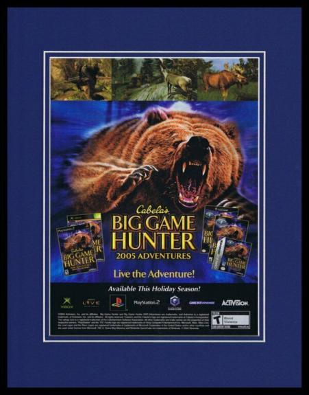Cabela's Big Game Hunter 2005 PS2 Framed 11x14 ORIGINAL Vintage Advertisement
