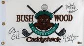Caddyshack (3) Chase, Morgan & O'Keefe Signed Bushwood Flag BAS Witnessed