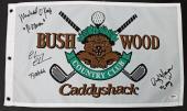 Caddyshack (3) Chase, Morgan, O'Keefe Signed Bushwood Flag w Character Names PSA