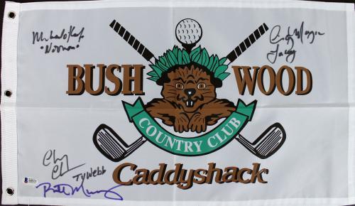 Caddyshack (4) Murray, Chase, Morgan & O'Keefe Signed Bushwood Flag BAS #A05172