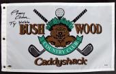 """Caddyshack Chevy Chase Full Name w/ """"Ty Webb"""" Signed Bushwood Flag BAS #I47052"""