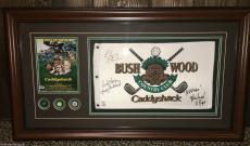 Caddyshack signed framed display Chevy Chase +2 Bush Wood Flag PSA DNA COA GOLF