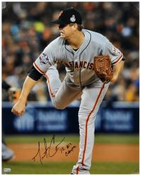 Matt Cain San Francisco Giants 2012 World Series Autographed 16'' x 20'' Photograph with ''12 W.S. Champs'' Inscription - Mounted Memories