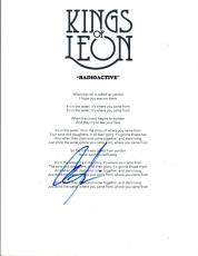 "Caleb Followill Signed Autograph ""Radioactive"" Lyric Sheet Kings of Leon COA VD"