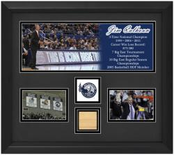 Jim Calhoun Connecticut Huskies 3-Photograph Framed Collage with Game Used 2011 Final Four Court Piece