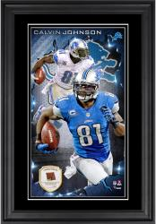 Calvin Johnson Detroit Lions 10'' x 18'' Vertical Framed Photograph with Piece of Game-Used Football - Limited Edition of 250
