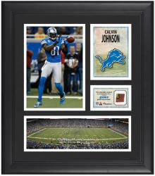"Calvin Johnson Detroit Lions Framed 15"" x 17"" Collage with Game-Used Football"