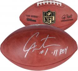 Cam Newton Carolina Panthers Autographed Duke Pro Football with 11 ROY Inscription