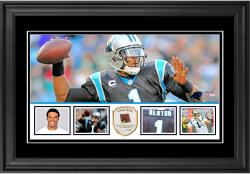 "Cam Newton Carolina Panthers Framed 10"" x 18""  Panoramic with Piece of Game-Used Football - Limited Edition of 250"