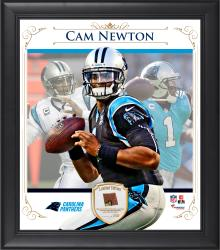 "Cam Newton Carolina Panthers Framed 15"" x 17"" Composite Collage with Piece of Game-Used Football"
