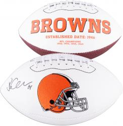 Jordan Cameron Cleveland Browns Autographed White Panel Football - Mounted Memories