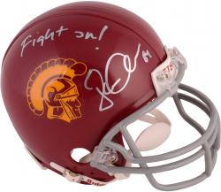 Jordan Cameron USC Trojans Autographed Riddell Mini Helmet with Fight On! Inscription - Mounted Memories