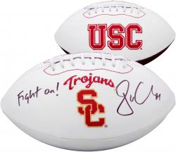Jordan Cameron USC Trojans Autographed White Panel Football with Fight On! Inscription