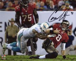 """Cameron Wake Miami Dolphins Autographed 8"""" x 10"""" Tackle vs. Tampa Bay Buccaneers Photograph"""