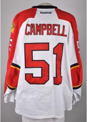 Brian Campbell Florida Panthers Game-Used Hockey White Jersey-Set 2 - Mounted Memories