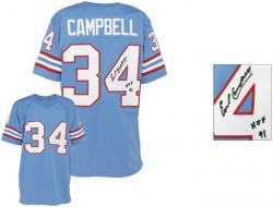 Earl Campbell Houston Oilers Autographed Custom Sky Blue Jersey with HOF 91 Inscription
