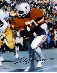 "Earl Campbell Texas Longhorns Autographed 8"" x 10"" vs. Notre Dame Photograph with Hook Em Inscription"