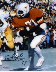 "Earl Campbell Texas Longhorns Autographed 8"" x 10"" vs. Notre Dame Photograph with HT 77 Inscription"