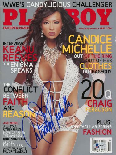 Candice Michelle Autographed Playboy April 2006 Magazine - Beckett COA
