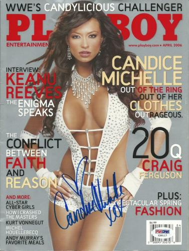 Candice Michelle Signed April 2006 Playboy Magazine PSA/DNA COA WWE Diva Auto'd