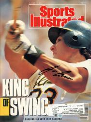 CANSECO, JOSE AUTO (8/20/90)(MLB) SPORTS ILLUSTRATED - Mounted Memories