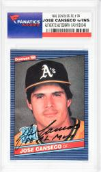 Jose Canseco Oakland Athletics Autographed 1986 Donruss #39 Rookie Card with 88 MVP Inscription - Mounted Memories