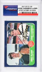 Jose Canseco Oakland Athletics Autographed 1986 Fleer #649 Rookie Card with 88 MVP Inscription - Mounted Memories