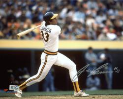 Jose Canseco Oakland Athletics Autographed 8'' x 10'' Horizontal Swing Photograph - Mounted Memories