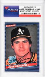 Jose Canseco Oakland Athletics Autographed 1986 Donruss #39 Rookie Card with Bash Brother Inscription