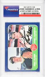 Jose Canseco Oakland Athletics Autographed 1986 Fleer #649 Rookie Card with Bash Brother Inscription - Mounted Memories