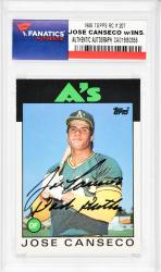 Jose Canseco Oakland Athletics Autographed 1986 Topps #20T Rookie Card with Bash Brother Inscription - Mounted Memories
