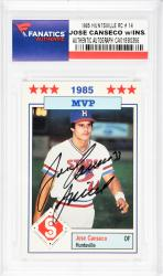 Jose Canseco Oakland Athletics Autographed 1985 Huntsville #14 Rookie Card with Juiced Inscription - Mounted Memories
