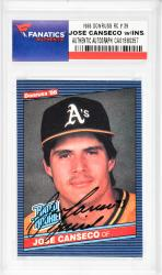 Jose Canseco Oakland Athletics Autographed 1986 Donruss #39 Rookie Card with Juiced Inscription - Mounted Memories