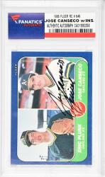 Jose Canseco Oakland Athletics Autographed 1986 Fleer #649 Rookie Card with Juiced Inscription - Mounted Memories