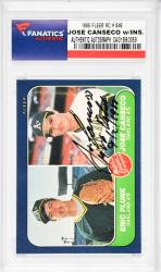 Jose Canseco Oakland Athletics Autographed 1986 Fleer #649 Rookie Card with MLB Debut 9/2/1985 Inscription