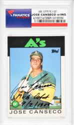 Jose Canseco Oakland Athletics Autographed 1986 Topps #20T Rookie Card with MLB Debut 9/2/1985 Inscription