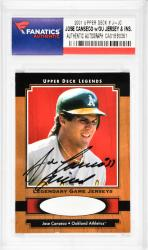 Jose Canseco Oakland Athletics Autographed 2001 Upper Deck #J-JC Card with Juiced Inscription - Mounted Memories - Mounted Memories