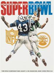 """1969 Jets vs Colts 22"""" x 30"""" Canvas Super Bowl III Program"""