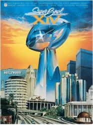 "1980 Steelers vs Rams 22"" x 30"" Canvas Super Bowl XIV Program"