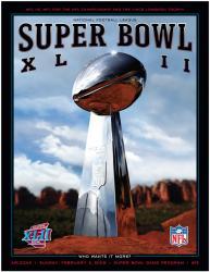 """2008 Giants vs Patriots 22"""" x 30"""" Canvas Super Bowl XLII Program"""