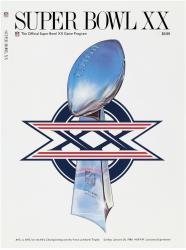 "1986 Bears vs Patriots 22"" x 30"" Canvas Super Bowl XX Program"