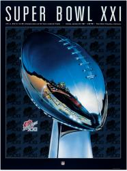 "1987 Giants vs Broncos 22"" x 30"" Canvas Super Bowl XXI Program"