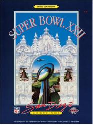 "1988 Redskins vs Broncos 22"" x 30"" Canvas Super Bowl XXII Program"