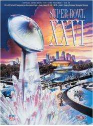 "1992 Redskins vs Bills 22"" x 30"" Canvas Super Bowl XXVI Program"
