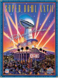 "1993 Cowboys vs Bills 22"" x 30"" Canvas Super Bowl XXVII Program"