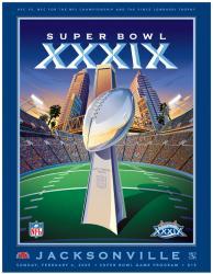 """2005 Patriots vs Eagles 22"""" x 30"""" Canvas Super Bowl XXXIX Program"""