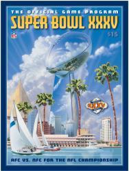 """2001 Ravens vs Giants 22"""" x 30"""" Canvas Super Bowl XXXV Program"""