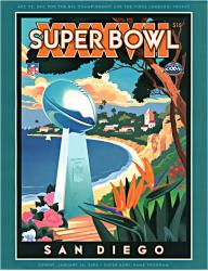 "2003 Buccaneers vs Raiders 22"" x 30"" Canvas Super Bowl XXXVII Program"