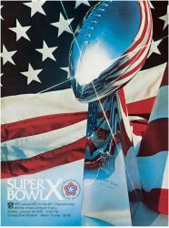 "1976 Steelers vs Cowboys 36"" x 48"" Canvas Super Bowl X Program"